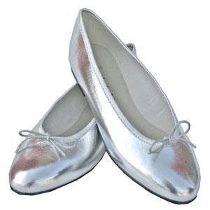 London Sole Simple silver ballet flat