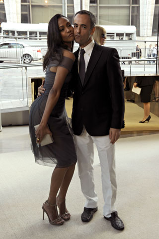 Zoe Saldana (in Calvin Klein) with Francisco Costa (the designer)