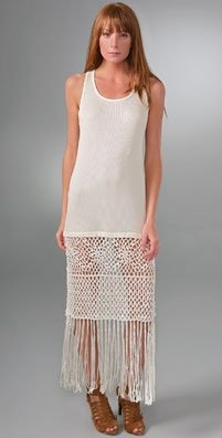 Tank dress with fringe bottom