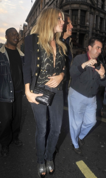 Sienna Miller leaving Cafe de Paris in London in Alejandro Ingelmo Woven platform slingbacks