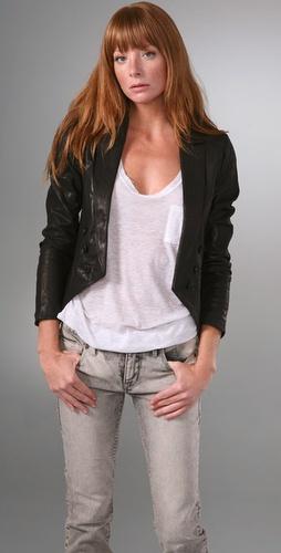 Torn by Ronny Kobo Saba Leather Tuxedo Blazer